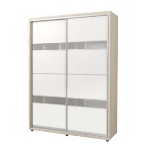 Шкаф-купе 2Д Стан-т 1700*2400*600 белый структурный, наполнение - 1, Фасад - стекло лакобель 2шт, профиль - серебро.