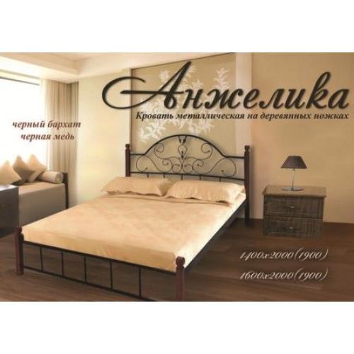 Ліжко анжеліка на дерев'яних ніжках Метал-дизайн