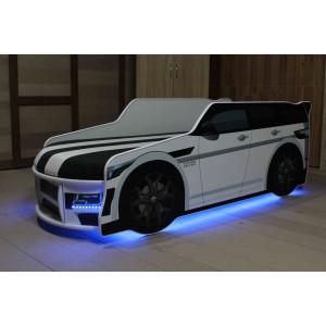 Детская кровать машинка premium p 001 +led (подсветка фар (цветная) 5v+пульт)+(подсветка низа кровати (цветная) 5v+пульт) Viorina - Deko