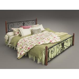 Кровать крокус на деревянных ногах Тенеро